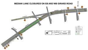 Detailed plan for traffic control system during lane closure.